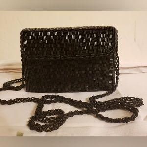 VINTAGE Mini Beaded Black Box Evening Bag Clutch